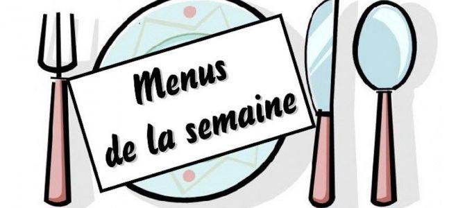 Le menu de la cantine. Semaine du 08/10 au 12/10